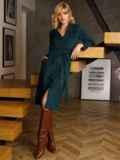Зеленое платье из замши на пуговицах 52636, фото 4