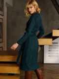 Зеленое платье из замши на пуговицах 52636, фото 5