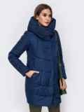 Зимняя куртка с объемным капюшоном тёмно-синяя 41711, фото 2