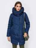 Зимняя куртка с объемным капюшоном тёмно-синяя 41711, фото 1