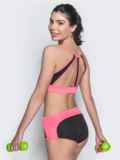 Комплект для фитнеса из топа и шорт с розовыми вставками 38777, фото 3