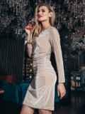 Бежевое платье с бархатным напылением и драпировкой по талии 42955, фото 3