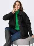 Короткое пальто из букле без подкладки черное 55280, фото 1