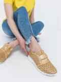 Мокасины из натуральной кожи с перфорацией золотистые 47557, фото 2