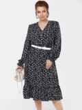 Черное платье большого размера с воланом по низу 53649, фото 2