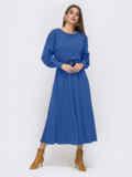 Платье из креп-дайвинга с расклешенной юбкой синее 51593, фото 3