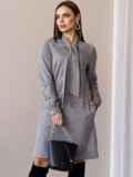 Платье из замши с воротником-аскот серое 52879, фото 2