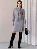Платье из замши с воротником-аскот серое 52879, фото 5