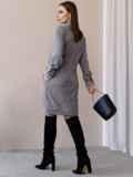 Платье из замши с воротником-аскот серое 52879, фото 6