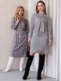 Платье из замши с воротником-аскот серое 52879, фото 7