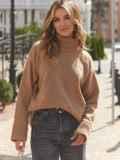 Бежевый свитер свободного кроя с воротником 54902, фото 2