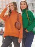 Оранжевый свитер свободного кроя с воротником 54904, фото 1