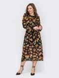 Шифоновое платье в цветочный принт с расклешенной юбкой черное 53419, фото 2