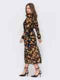 Шифоновое платье в цветочный принт с расклешенной юбкой черное 53419, фото 3
