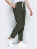 Спортивные штаны с завышеной талией на резинке цвета хаки 53694, фото 2