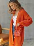 Вязаный кардиган на пуговицах оранжевый 54907, фото 1