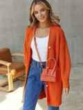 Вязаный кардиган на пуговицах оранжевый 54907, фото 2