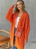 Вязаный кардиган на пуговицах оранжевый 54907, фото 3