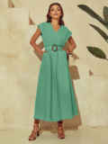 Мятное платье из льна с расклешенной юбкой 53843, фото 3