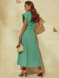 Мятное платье из льна с расклешенной юбкой 53843, фото 5