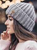 Светло-бежевая шапка «резинка» с отворотом 15463, фото 2