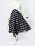 Двухслойная юбка-полусолнце в клетку черная 55325, фото 1