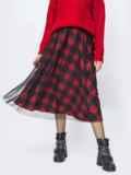 Двухслойная юбка-полусолнце в клетку красная 55326, фото 2
