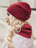 Бордовые шапка и хомут рельефной вязки 15532, фото 2