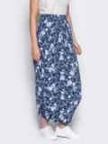 Принтованная юбка-трансформер синяя 12888, фото 2