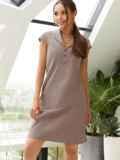 """Приталенное платье из льна с рукавом """"крылышко"""" коричневое 54149, фото 3"""