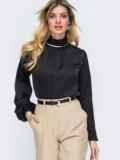 Шелковая рубашка с воротником-стойкой чёрная 45749, фото 2