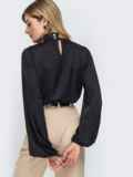Шелковая рубашка с воротником-стойкой чёрная 45749, фото 3