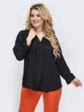 Свободная блузка батал с фигурным вырезом чёрное 45227, фото 2