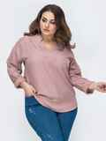 Свободная блузка батал с фигурным вырезом пудровая 45229, фото 1