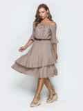 Бежевое платье с открытыми плечами и двухслойной юбкой 39002, фото 2