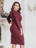 Бордовое платье большого размера с нитью люрекса 43244, фото 2