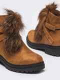 Демисезонные ботинки с меховой вставкой коричневые 51434, фото 3