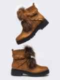 Демисезонные ботинки с меховой вставкой коричневые 51434, фото 4