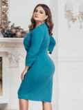 Голубое платье большого размера с нитью люрекса 43246, фото 2