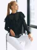 Черная блузка из шифона с длинным рукавом и оборками 54679, фото 1