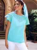 Голубая блузка с коротким рукавом и фигурным вырезом на спинке 54418, фото 2