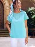 Голубая блузка с коротким рукавом и фигурным вырезом на спинке 54418, фото 3