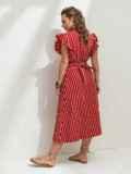 """Красное платье в полоску с рукавом """"крылышко"""" 46818, фото 3"""