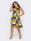 Темно-синее платье-трапеция из шифона с принтом 53857, фото 2