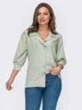 Блузка из софта с рукавами ¾ зеленая 53423, фото 2