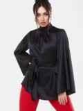 Черная блузка большого размера с воротником-стойкой 53651, фото 2