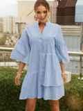 Свободное платье из прошвы с воротником-стойкой голубое 54136, фото 2