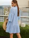 Свободное платье из прошвы с воротником-стойкой голубое 54136, фото 3