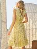 Желтое платье с V-образным вырезом без рукавов 54083, фото 3