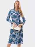 Серое платье на запах с принтом и английским воротником 53453, фото 2